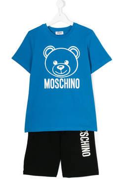 Moschino Kids TEEN teddy logo print shorts set