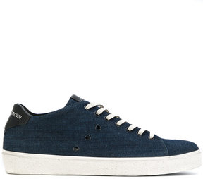 Leather Crown lace-up denim sneakers