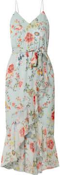Alice + Olivia Alice Olivia - Mable Wrap-effect Floral-print Silk-georgette Midi Dress - Light blue