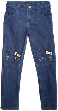 Hello Kitty Little Girls Embroidered Face Jeans