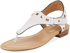 Neiman Marcus Yolene Studded Calf Sandals, White/Gold