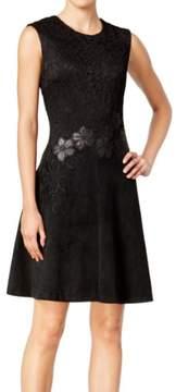 Calvin Klein Women's Faux-Suede Lace Fit & Flare Dress (14, Black)