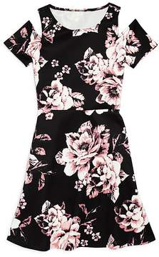 Aqua Girls' Floral Cold-Shoulder Dress, Big Kid - 100% Exclusive