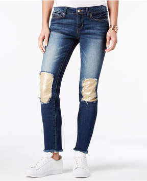 Dollhouse Juniors' Sequin-Patch Skinny Jeans