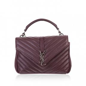 Saint Laurent Collége monogramme leather crossbody bag - BURGUNDY - STYLE
