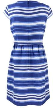 Nine West Women's Cap Sleeve Striped Belted Dress (4, Riviera Combo)