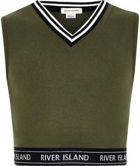 River Island Girls khaki tipped sleeveless crop top