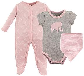Hudson Baby Pink & Gray Elephant Bodysuit Set - Infant