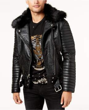 Reason Men's Gatwick Faux-Leather Moto Jacket with Faux-Fur Trim