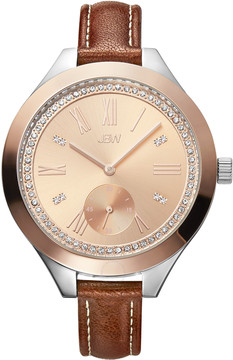 JBW Aria Rose Gold-tone Diamond Dial Brown Calfskin Leather Strap Ladies Watch