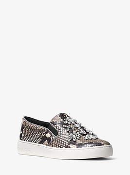 Michael Kors Keaton Embellished Embossed-Leather Slip-On Sneaker
