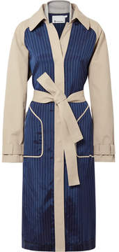 Alexander Wang Cotton-gabardine And Striped Satin-twill Trench Coat - Beige
