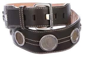 Celine Leather Coin-Embellished Belt