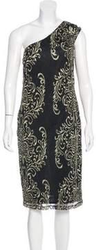 David Meister One-Shoulder Lace Dress