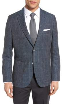 BOSS Men's Janson Trim Fit Windowpane Wool Blend Sport Coat