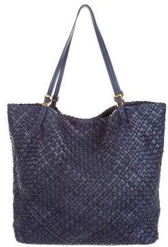 Michael Kors Large Hutton Woven Leather Tote - BLUE - STYLE
