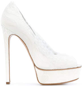 Casadei lace platform pumps