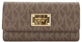Michael Kors Brown Signature Canvas Jet Set Checkbook Wallet - BROWN - STYLE