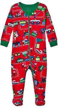 Hatley Red Train Print Babygrow
