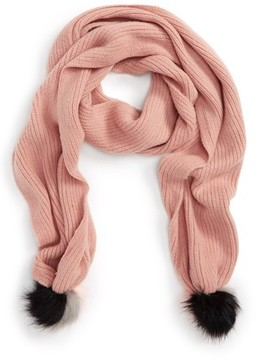 BP Women's Faux Fur Pom Knit Scarf
