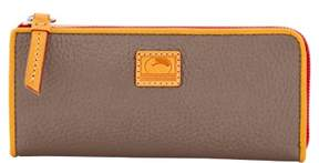 Dooney & Bourke Patterson Leather Zip Clutch Wallet - TAUPE - STYLE