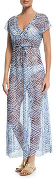 Letarte V-Neck Sheer Mesh Printed Maxi Dress