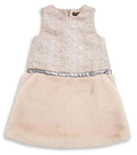 Imoga Toddler's& Little Girl's Tweed Top Faux Fur Trimmed Dress