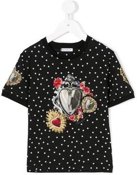 Dolce & Gabbana jewel print polka-dot T-shirt