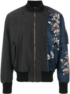 No.21 flower print patch bomber jacket