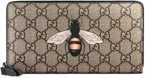 Bee print GG Supreme zip around wallet