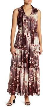 ECI Tie-Neck Sleeveless Printed Maxi Dress