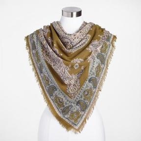 World Market Square Olive Green Paisley Scarf