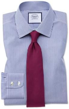Charles Tyrwhitt Extra Slim Fit Non-Iron Bengal Stripe Navy Cotton Dress Shirt French Cuff Size 14.5/32