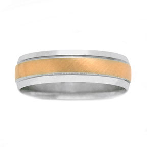 JCPenney MODERN BRIDE Womens 10K Two-Tone Gold Polished & Brushed Wedding Band