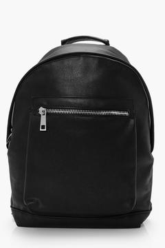 boohoo Leather Look Back Pack With Chunky Zip
