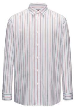 HUGO Boss Striped Sport Shirt, Relaxed FIt Emilton L Red
