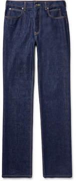 Calvin Klein Leather-Trimmed Denim Jeans