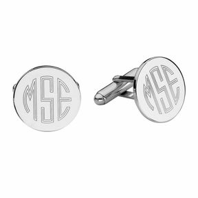 Asstd National Brand Personalized Sterling Silver Round Cuff Links
