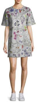 Escada Short-Sleeve Floral-Print Sweatshirt Dress