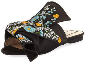 No.21 No. 21 Embroidered Satin Bow Mule Flat, Black