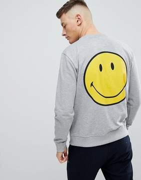 Pull&Bear Smiley Face Sweatshirt In Gray
