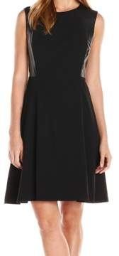 Nine West Women's Faux Leather Fit Flare Dress (8, Black)