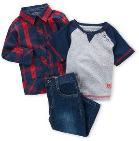 DKNY Newborn Boys) 3-Piece Plaid Shirt & Straight Jeans Set