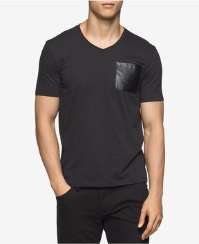Calvin Klein Men's V-Neck T-Shirt with Faux Leather Pocket