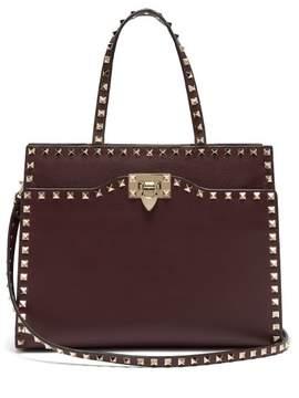 Valentino Rockstud Medium Leather Bag - Womens - Burgundy