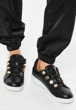 Missguided Black Gold Disc Eyelet Sneakers