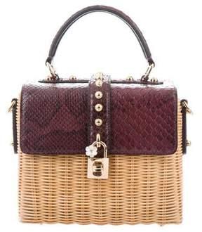 Dolce & Gabbana Straw & Python Shoulder Bag