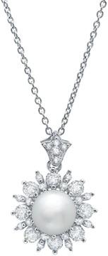 Crislu CZ Halo Freshwater Pearl Starburst Pendant Necklace