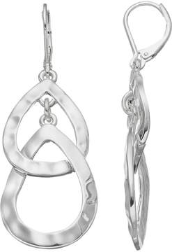 Dana Buchman Hammered Nickel Free Interlocked Teardrop Earrings