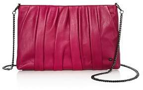 Halston Grace Ruched Leather Clutch